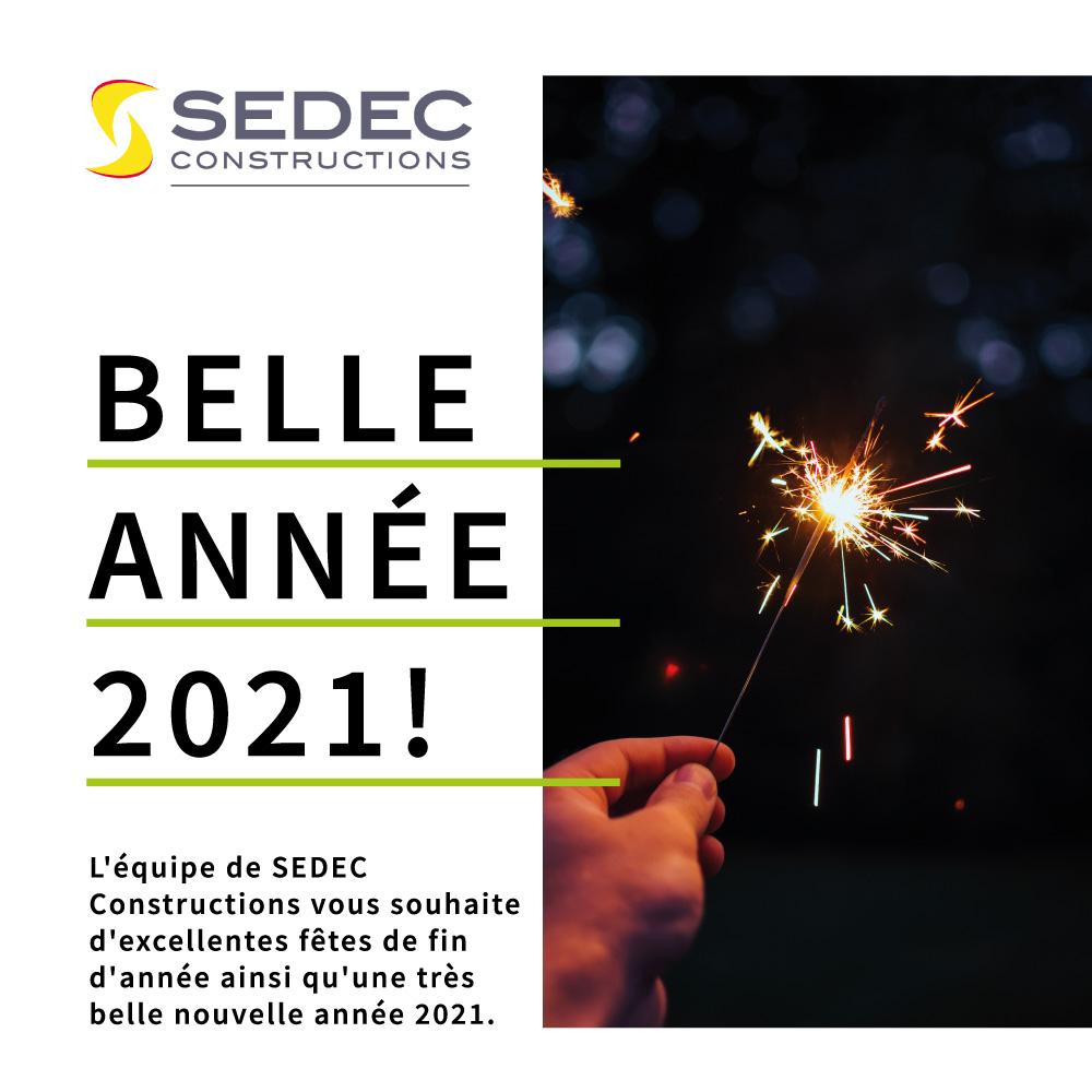 Carte de voeux Sedec Construction pour la nouvelle année 2021.